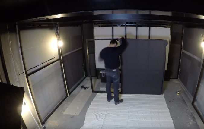 Equipping a home theatre with acoustic cloth from Akustikstoff.com.