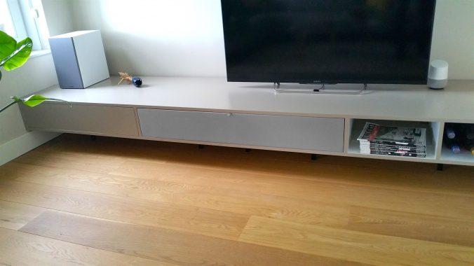 AV board with speaker cloth from Akustikstoff.com