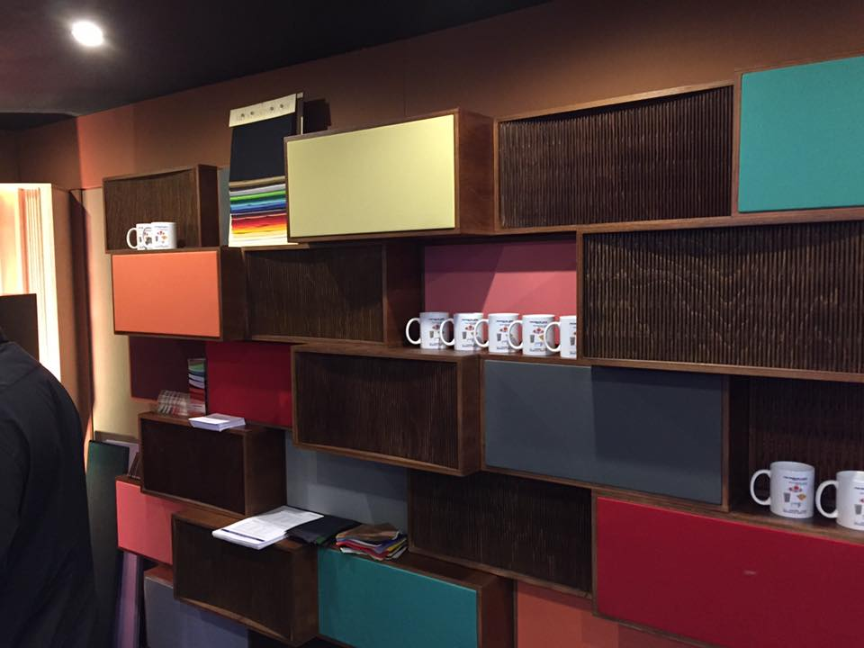 Akustikstoff.com @ Musikmesse 2017 – Absorber wall equipped with acoustic cloth