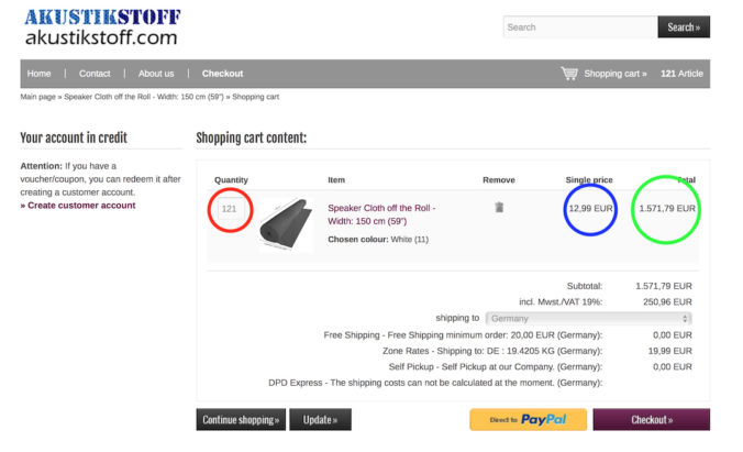 easy shopping cart overview on akustikstoff.com