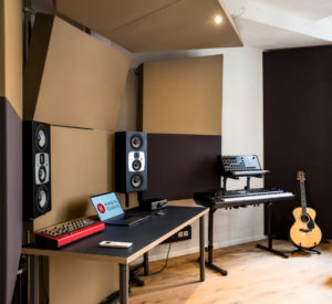 Absorber covered with acoustic cloth in a studio
