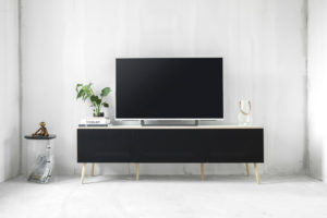 AV furniture from Hifimøbler.dk, with speaker fabric from Akustikstoff.com
