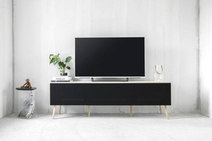 AV furniture from Hifimøbler.dk, with speaker fabric from Akustikstoff.com