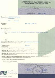 Akustikstoff FR ist nach NFP 92502 als nichtbrennbar (M1) zertifiziert.