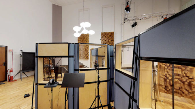"""Main room of """"The Spheres"""" studio outfitted with Acoustic Cloth 2.0 by Akustikstoff.com"""
