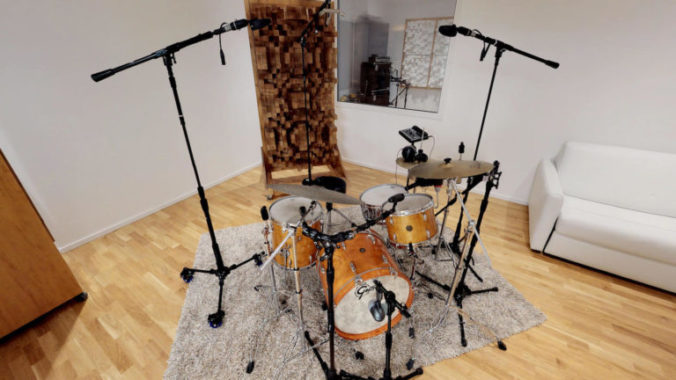 "Drum booth of ""The Spheres"" studio outfitted with Acoustic Cloth 2.0 by Akustikstoff.com"